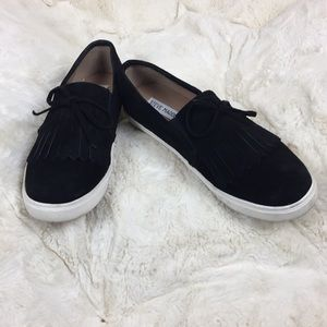 Black suede slip on shoes